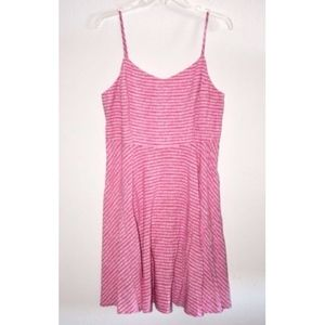 OLD NAVY pink striped fit and flare dress sz L